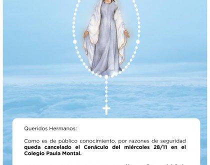 Medidas de Seguridad - Cancelación de cenáculo en el Colegio Paula Montal ‼️