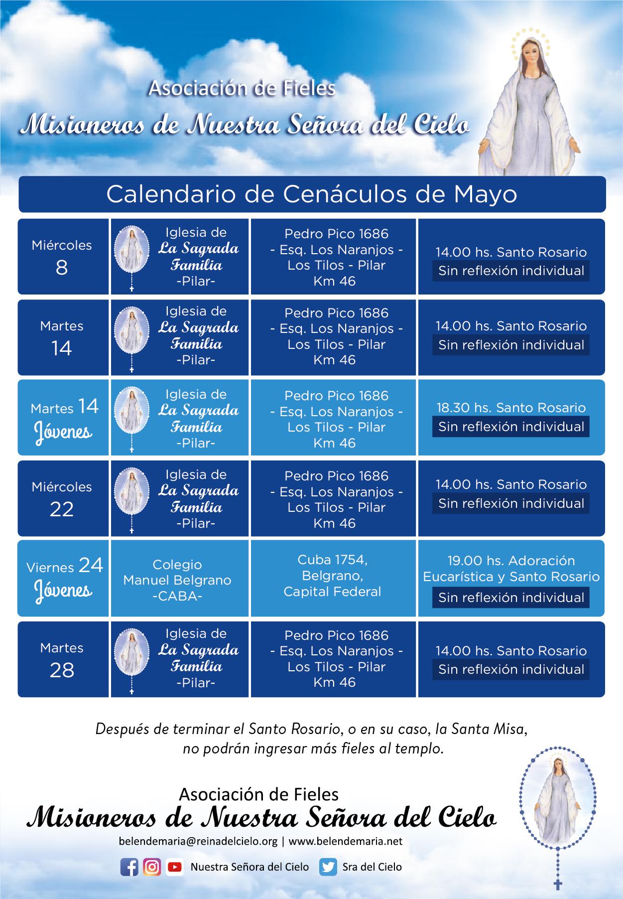 Cenáculos de Mayo sin reflexión